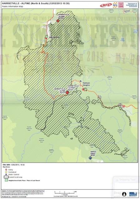 Hotham Bush Fire Map